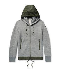 Moncler   Slim-Fit Nylon-Trimmed Cotton-Blend Jersey Zip-Up Sweatshirt