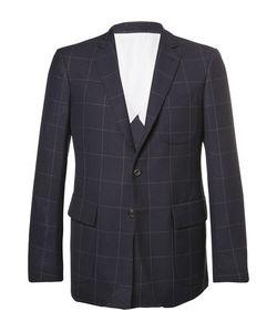 Wooster + Lardini   Slim-Fit Windowpane-Checked Wool Blazer