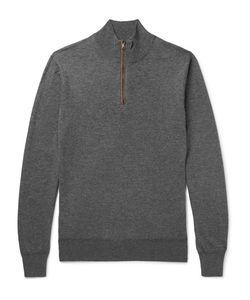 Hackett   Slim-Fit Suede-Trimmed Wool And Cotton-Blend Half-Zip Sweater