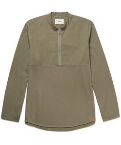 Folk | Mandarin-Collar Cotton-Twill And Jersey Half-Zip Shirt