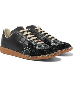 Maison Margiela | Replica Paint-Splattered Suede And Leather Sneakers Midnight