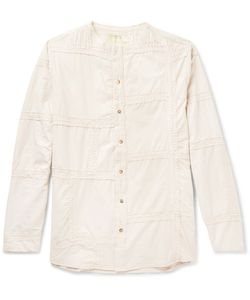 By Walid | Collarless Embroidered Washed-Cotton Shirt