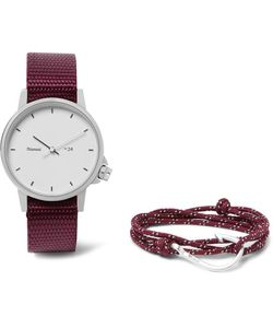 Miansai | Stainless Steel And Canvas Watch And Plated Cord Wrap