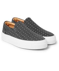 Wooster + Lardini   Polka-Dot Canvas Slip-On Sneakers