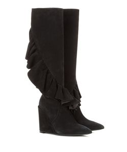 J.W.Anderson | Ruffled Suede Knee-High Wedge Boots
