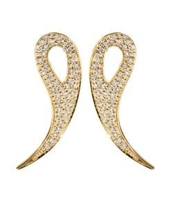 House Of Waris | 18kt Gold Drop Spike Earrings With White Pavé Diamonds