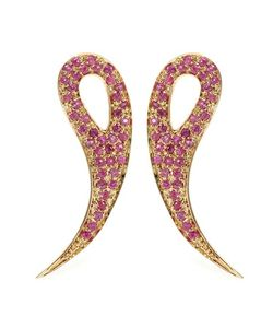 House Of Waris | 18kt Drop Spike Earrings With Pavé Pink Sapphires