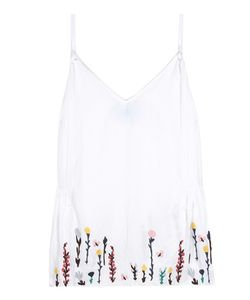 M.i.h Jeans   Embroidered Cotton And Linen Top