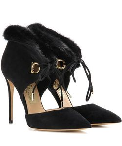 Salvatore Ferragamo | Francesca Fur-Trimmed Suede Pumps