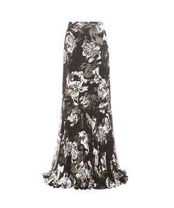 Erdem   Leandra Floral-Printed Silk Skirt