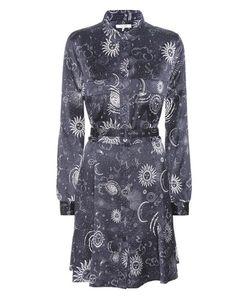 Ganni   Iona Printed Silk-Satin Shirt Dress
