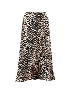 Ganni   Dufort Leopard-Printed Silk Skirt