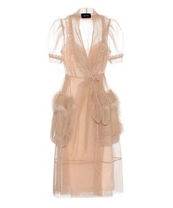 Simone Rocha | Feather-Trimmed Tulle Dress