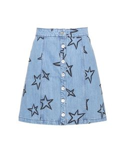 Être Cécile | Star-Embroidered Denim Miniskirt