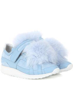Pierre Hardy | Fur-Trimmed Suede Sneakers