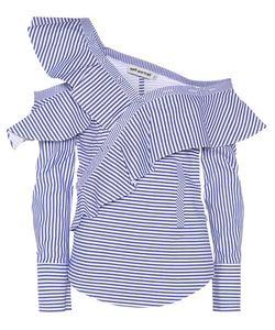 Self-Portrait | Striped Frill Cotton Shirt