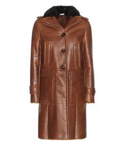 Miu Miu | Lamb Fur-Lined Leather Coat With Fur Collar
