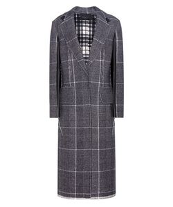 Calvin Klein Collection | Janca Plaid Leather-Trimmed Wool Coat