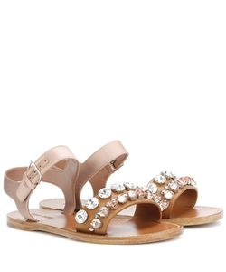 Miu Miu | Embellished Leather And Satin Sandals