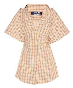 Jacquemus | Cotton And Linen Checked Mini Dress