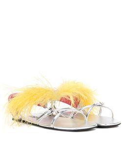 Prada | Feather-Embellished Leather Sandals
