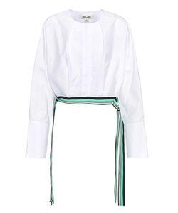 Diane von Furstenberg | Cotton Cropped Side Tie Blouse