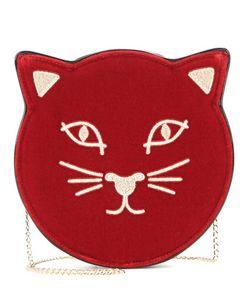 Charlotte Olympia | Pussycat Embroidered Velvet Shoulder Bag