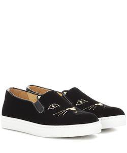 Charlotte Olympia | Cool Cats Velvet Slip-On Sneakers