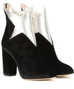 Charlotte Olympia | Galactica Velvet And Leather Ankle Boots