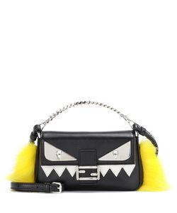 Fendi | Micro Baguette Fur-Trimmed Leather Shoulder Bag