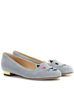 Charlotte Olympia | Flirty Kitty Velvet Slippers