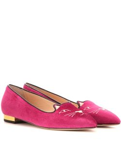 Charlotte Olympia | Mid-Century Kitty Velvet Slippers