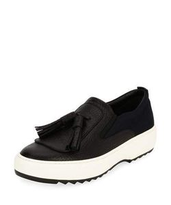 Salvatore Ferragamo | Leather Sneaker With Oversized Tassels On Archival Sawtooth Sole Nero