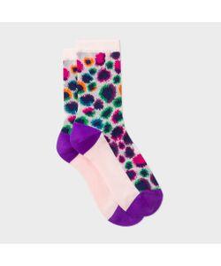 Paul Smith | Light Leopard Motif Semi-Sheer Socks