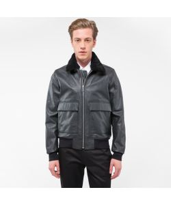 Paul Smith | Grained Leather Jacket With Detachable Collar Trim