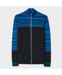 Paul Smith | Navy And Funnel Neck Zip Cardigan