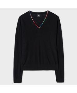 Paul Smith | Merino Wool V-Neck Sweater With Stripe Detail