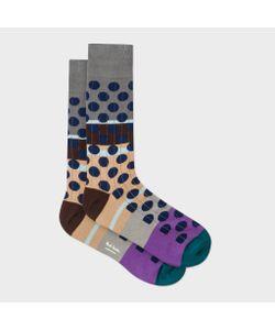 Paul Smith | Mens Multi-Coloured Navy Spot Ribbed Socks