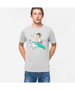 Paul Smith | Mens Marl Organic Surf Monkey Print T-Shirt