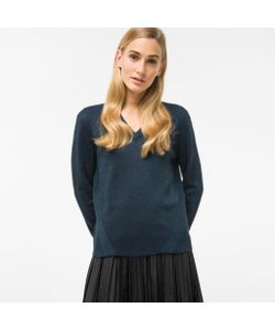 Paul Smith | Glittered Navy And Wool-Blend V-Neck Sweater