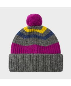 Paul Smith | Mens Striped Lambswool Bobble Hat