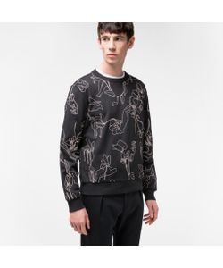 Paul Smith | Mens Loopback-Cotton Botanical Embroide Sweatshirt