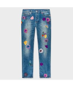 Paul Smith | Slim-Fit Mid-Wash Jeans With Embroidered Charms