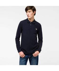 Paul Smith | Mens Organic-Cotton Zebra Logo Long-Sleeve Polo Shirt