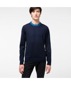 Paul Smith   Mens Merino Wool-Blend Sweater With Contrasting Collar