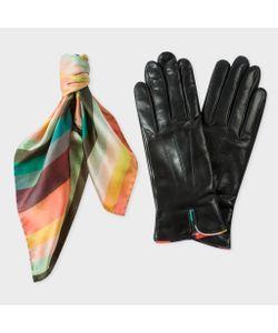 Paul Smith   Women Silk Scarf And Black Lambskin Gloves Gift Set