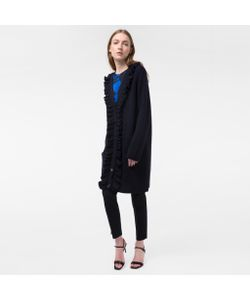Paul Smith | Womens Long Wool Cardigan With Frill Placket