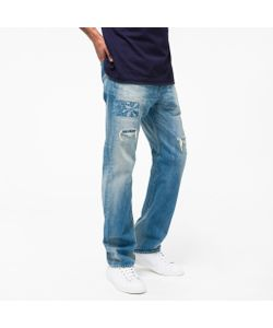 Paul Smith | Straight-Fit Distressed Ear Selvedge Jeans With Embroidery
