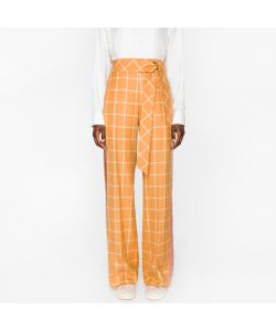Paul Smith | Windowpane Check Parallel Leg Trousers With Silk Stripes