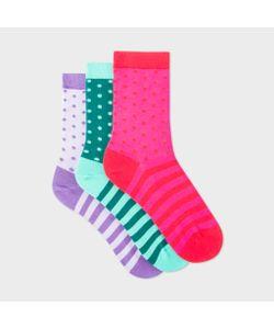 Paul Smith | Womens Polka Dot Stripe Socks Three Pack